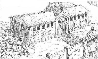 Ilustrasyon ng Casa Hacienda de Tejeros, mula kay Isagani Medina.
