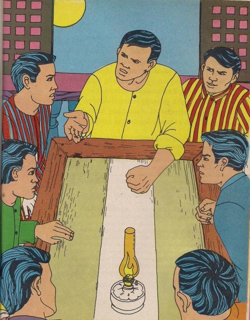 Ang pagtatatag ng Katipunan ni Andres Bonifacio, kasama si Valentin Diaz.  Mula sa Aklat Adarna.