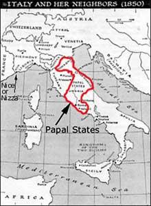 Donasyon ni Pepin, hari ng mga Pranses ang mga Estadong Papal sa Italya.