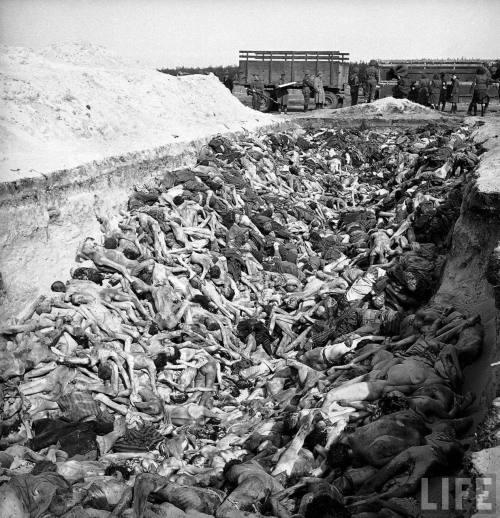Ang mass pit ng napakaraming Hudyo na pinatay at namatay sa Bergen-Belsen noong 1945.  Kuha ni Rodger Bergen para sa LIFE.