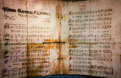 Ang sipi ng piyesa ng Marcha Nacional na dati ay Marcha Filipina Magdalo.  Kuha ni Xiao Chua mula sa Dambanang Aguinaldo.