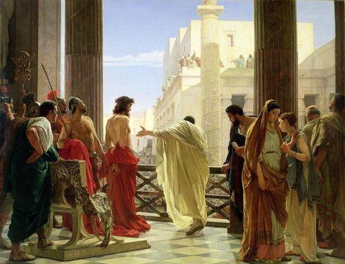 Ecce Homo ni Antonio Ciseri.  Pinapili kung ang kaaawa-awang si Hesus o ang rebolusyunaryong si Barabbas ang paipiliin.  Ang pinili ng tao ay si Barabbas.