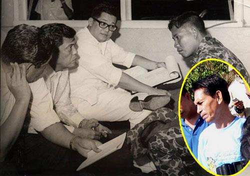 Si Jibin Arula (sa inset bago mamatay kamakailan lamang) habang kinakapanayam nina Senador Ninoy Aquino, 1968.