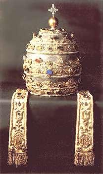 Ang tiara na isinusuot sa ulo ng poon ni San Pedro sa Vaticano.  Mula sa Bible Light homepage ni Michael Scheifler.