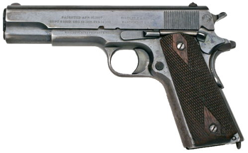 Calibre .45 1911 model.  Mula sa Wikipedia.