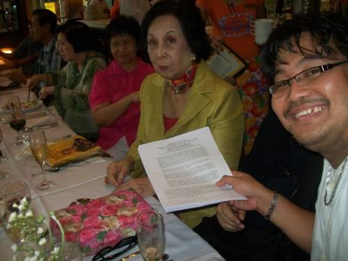 Anak ni Ponce:  Historical columnist Carmen Guerrero Nakpil kasama si Xiao Chua.