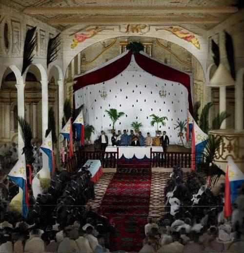 Kinulayang larawan ng Kongreso ng Malolos sa Simbahan ng Barasoain sa Malolos, Bulacan noong 1989.