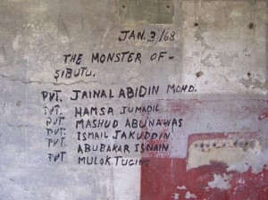 Mga iniwang bakas ng mga Sundalong Tausug na Jabidah sa Corregidor noong 1968, bago sila mapuksa.