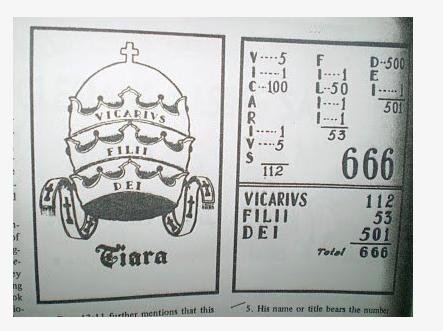 Ang titulo raw ng papa na VICARIVS FILII DEI ay nakasulat sa isang triregnum.  Ito raw ang numero ng antikristo.  Walang ganitong tiara.