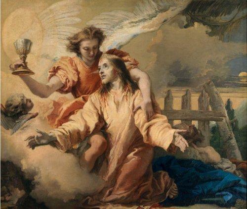 The Agony in the Garden ni Giovanni Domenico Tiepolo.  Nasa Museo Nacional del Prado.