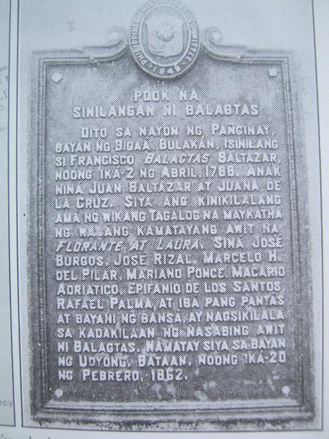 Panandang Pangkasaysayan sa pook sinilangan ni Francisco Balagtas.