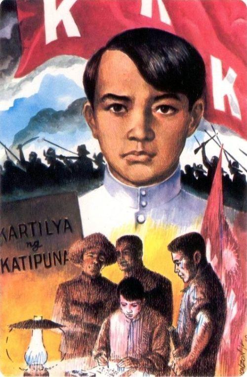Isang paglalarawan kay Emilio Jacinto.  Mula sa isang malaganap na postcard.