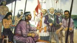 Ang pagdating ni Enrique at ni Magellan sa Cebu.    Obra ay nasa Fort San Pedro sa Cebu.