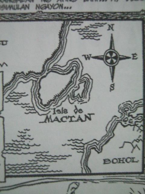 Isla ng Mactan.  Guhit ni Francisco D. Coching mula sa komiks niyang Lapulapu.