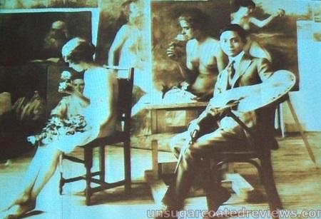Si batang Amorsolo habang nagpipinta ng isng hubad na babae sa kanyang studio.  Mula kay Dr. Ambeth Ocampo.