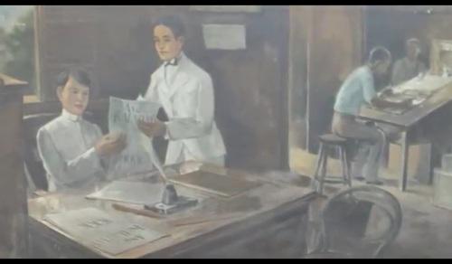Si Valenzuela bilang tagapaglathala ng Kaayaan kasama ang editor nito na si Emilio Jacinto.  Nakasabit sa Museo Valenzuela.