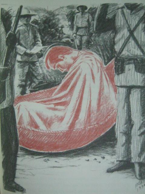 Pag-aresto sa sugatang si Andres Bonifacio, isinakay daw siya sa duyan.  Obra ni Egai Fernandez mula sa Supremo.