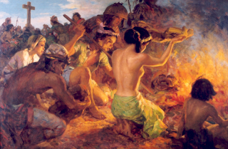 Burning of the Idols ni Fernando Amorsolo.  Nasa Ayala Museum.