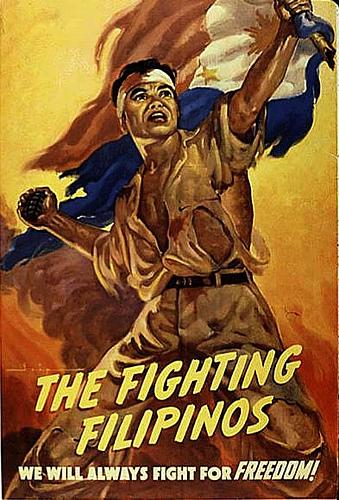 """Poster na """"The Fighting Filipinos"""" na likha ni Michael Rey Isip na ginamit upang humingi ng suporta para sa mga sundalong Pilipino."""