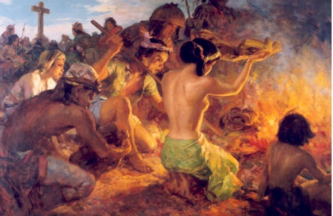 Burning of the Idols, nagpapakita ng pagsunog ng mga ninuno natin sa kanilang mga anito tulad ng ipinag-utos ng mga mananakop na Espanyol.  Suwabe sa backlighting.
