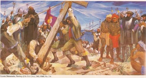 Planting of the First Cross ni Vicente Manansala.  Nasa Pambansang Museo ng Pilipinas.
