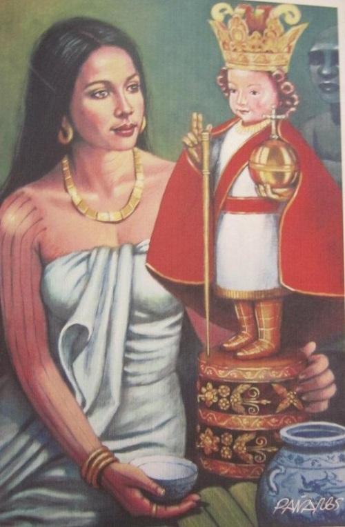 Si Reyna Juana at ang Sto. Nino.    Obra ay nasa Fort San Pedro sa Cebu.