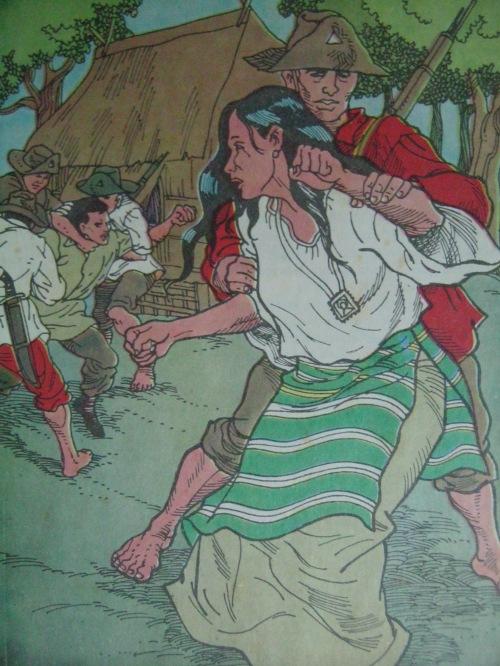 Nang bihagin si Aling Oryang nina Yntong.  Guhit ni Ronelito Escauriaga mula sa Hiyas ng Kalayaan ng Adarna Books.