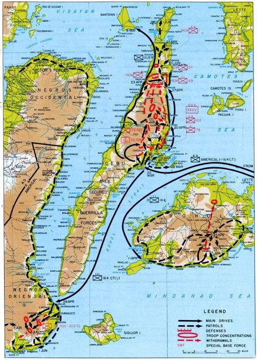 Mapa ng Cebu Landing.  Mula sa opisyal na ulat ni Heneral Douglas MacArthur.