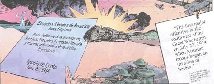 Ang pagkakarehistro ng INC sa Pilipinas noong July 27, 1914 ay kasabay ng pagsisimula ng World War I.  Guhit ni Nestor Malgapo, Sr. sa LIWANAG komiks.