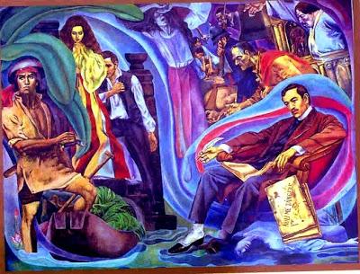 """Si Rizal at ang mga karakter ng Noli Me Tangere--Elias, Maria Clara at Crisostomo Ibarra.  Detalye ng mural ni Carlos V. Francisco, """"History of Manila."""""""
