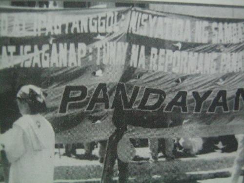 Isang streamer ng Pandayan noong Dekada 1980s.  Mula sa Socdem na inedit ni Benjamin Tolosa.