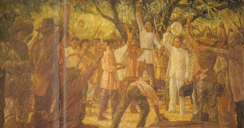Si Dr. Pio Valenzuela (may hawak na sumbrero) na inilalarawan na kasama sa Unang Sigaw ng Himagsikan sa Caloocan (Balintawak), Agosto 1896.