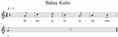 Mga unang nota ng Bahay Kubo.