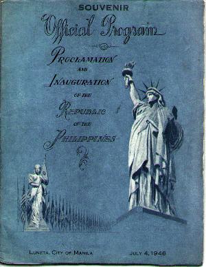Ang pabalat ng sipi ng souvenir program para sa paggawad ng Kasarinlan ng Pilipinas mula sa Amerika, July 4, 1946