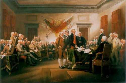 Ang paglagda ng mga Founding Fathers ng Amerika sa Proklamasyon ng Kasarinlan ng Estados Unidos, obra maestra ni Jonathan Trumbull, nakasabit sa silid na nagtataglay ng mahalagang dokumento na ito sa Kongreso ng Estados Unidos).