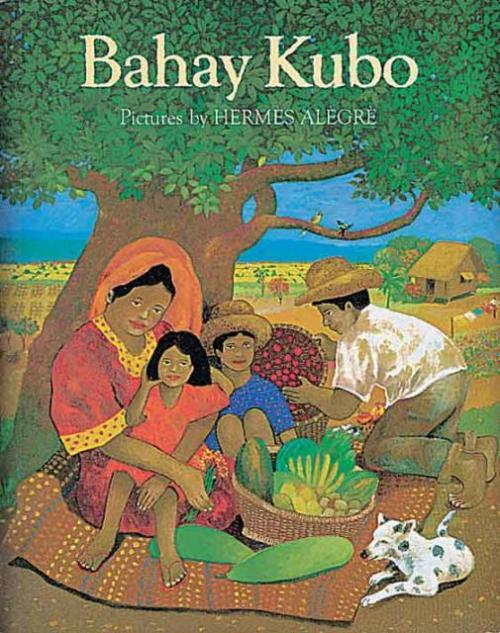 Aklat pambatang Bahay Kubo ng Tahanan Books for Young Readers.  Mga dibuho ni Hermes Alegre.