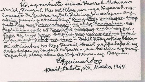 Testimonya ni Heneral Emilio Aguinaldo mula sa kanyang tahanan sa Kawit, Cavite sa kanyang kaarawan, March 22, 1948.  Mula sa Studio 5 Designs.