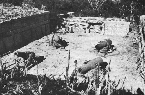Ang Battery Way, ang huling battery na pumutok laban sa mga Hapones.  Mula sa US Army Military History Institute.