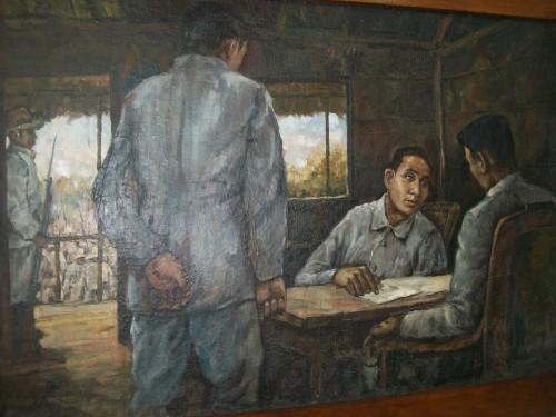 Isang obra maestra na nagpapakita sa unang pagkikita nina Mabini at Heneral Aguinaldo, nakasabit sa Dambanang Pangkasaysayang Mabini sa Tanauan, Batangas