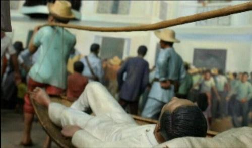 Detalye ng diorama sa Ayala Museum na nagpapakita ng Proklamasyon ng Kasarinlan ng Pilipinas noong June 12, 1898 na nagpapakita sa pagdating ni Mabini sa eksena.