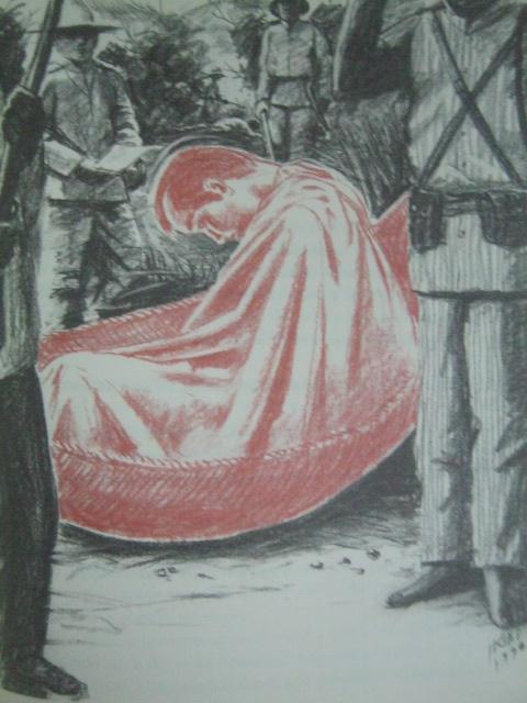 Pagkamatay sa isang duyan.  Paglalarawan ni Egai Fernandez mula sa aklat na Supremo ni Sylvia Mendez Ventura.