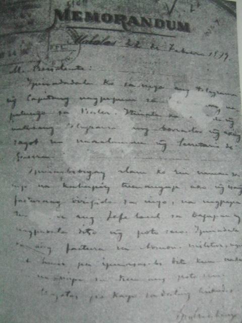 Memorandum sa wikang Tagalog mula kay Mabini para kay Aguinaldo.  Mula sa Apolinario Mabini Revolutionary ni Cesar Adib Majul.