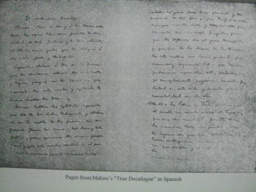 """Isa sa pinakamahalagang akda ni Mabini ang """"El Verdadero Dekalogo.""""  Ang tunay na sampung kautusan.  Mula sa Apolinario Mabini Revolutionary ni Cesar Adib Majul."""