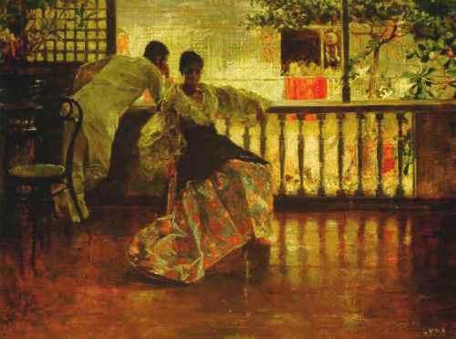 """""""Tampuhan"""" ni Juan Luna, 1895.  Ang modelo para sa lalaki ay si Ariston Bautista-Lin."""
