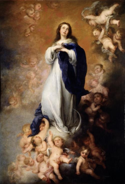La Inmaculada concepción de los Venerables o de Soult.  Obra maestra ni Murillo, nasa Museo del Prado.