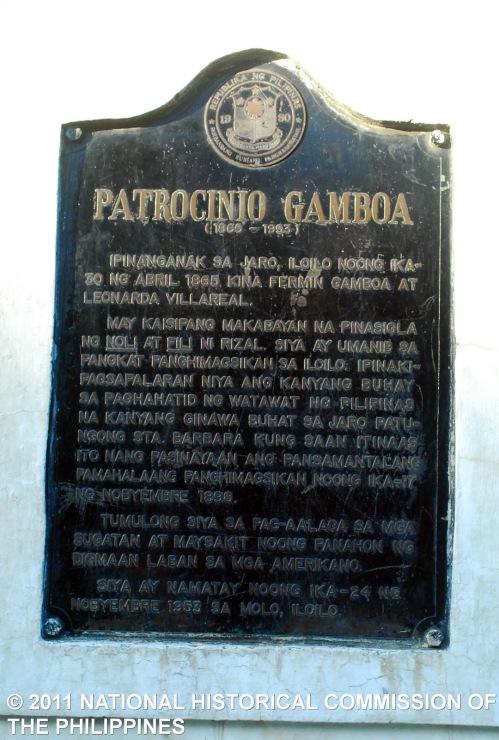 Panandang pangkasaysayan kay Patrocinio Gamboa sa Jaro, Iloilo.