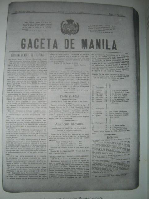 Ang edisyon ng Gaceta de Manila na nagdala ng balita ng Batas Militar na ipinroklama ni Gobernador Heneral Blanco sa walong lalawigan ng Luzon noong August 30, 1896.  Mula kay Isagani Medina.