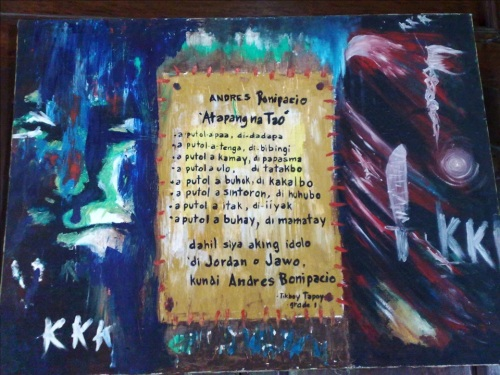 """Tulad ng sabi ni Prop. Danilo Aragon, may dahilan kung bakit lumitaw ang tulang """"Andres Bonifacio, A-tapang A-tao.""""  Mula sa Bahay Pinaglitisan kay Bonifacio sa Maragondon sa pangangasiwa ng Pambansang Komisyong Pangkasaysayan ng Pilipinas."""