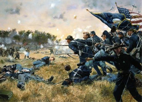 Ang nagpapakita ng First Minnesota Regiment noong digmaang sibil sa Estados Unidos.  Mula sa nationalguardmil.com.