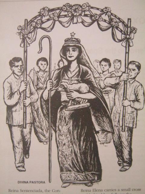 Divina Pastora.  Mula sa Filway's Philippine Almanac (1995).  Mayroon ding Reina Mora bilang kinatawan ng mga kapatid nating Muslim na may espesyal na pagkilala rin sa ina ni Propeta Isa (Hesus) na si Mariam.
